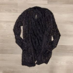 Express Fuzzy Black Cardigan ⭐